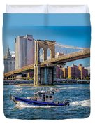 Nypd On East River Duvet Cover