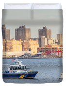Nypd Patrol Boat In East River Duvet Cover