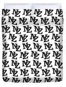 Nz New Zealand Black On White Duvet Cover
