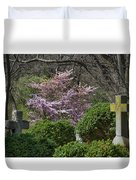 Oak Hill Cemetery Crosses Duvet Cover