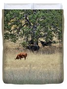 Oak Tree And The Cows Duvet Cover