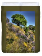 Oak Tree And Wildflowers Duvet Cover