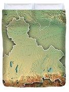 Oberbayern Regierungsbezirk Bayern 3d Render Topographic Map Bor Duvet Cover