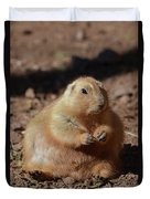 Obese Prairie Dog Sitting In A Pile Of Dirt Duvet Cover