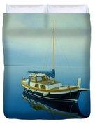 Coastal Wall Art, Ocean Blue, Fishing Boat Paintings Duvet Cover