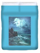 Seascape And Moonlight An Ocean Scene Duvet Cover by Katalin Luczay