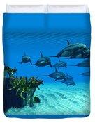 Ocean Striped Dolphins Duvet Cover