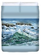 Ocean Waves And Pelicans Duvet Cover