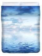 Ocean With Calm Waves Background With Dramatic Sky Duvet Cover