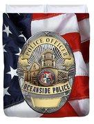 Oceanside Police Department - Opd Officer Badge Over American Flag Duvet Cover