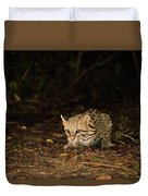Ocelot Crouching At Night Looking For Food Duvet Cover