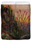 Ocotillo At Sunset Duvet Cover