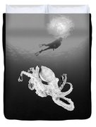 Octopus And Diver - Bw Duvet Cover