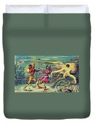 Octopus Attack, 1900s French Postcard Duvet Cover