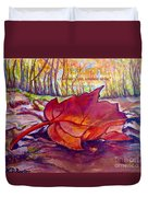 Ode To A Fallen Leaf Painting With Quote Duvet Cover