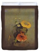 Odilon Redon - Vase With Poppy, Camomile And Bindweed Duvet Cover