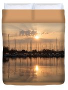 Of Yachts And Cormorants - A Golden Marina Morning Duvet Cover