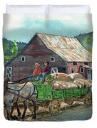 Off To Market Duvet Cover