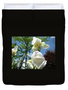 Office Art Giclee Prints White Yellow Iris Flowers Irises Baslee Troutman Duvet Cover