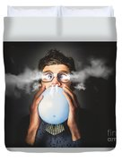 Office Party Nerd Blowing Up Birthday Balloon Duvet Cover