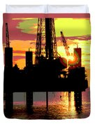 Offshore Drilling Rig Sunset Duvet Cover