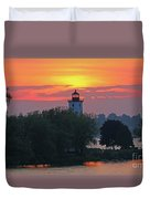 Ogdensburg Lighthouse At Sunset 6695 Duvet Cover