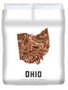 Ohio Map Art Abstract In Brown Duvet Cover