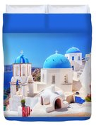 Oia Town On Santorini Island Greece Aegean Sea Duvet Cover