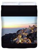 Oia Village In Santorini Island - Greece Duvet Cover