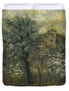 Oil Painting House Tree Duvet Cover