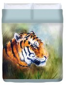 Oil Painting Of A Bright Mighty Tiger Head On A Soft Toned Abstr Duvet Cover