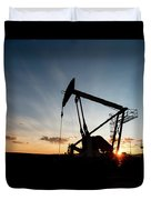 Oil Pumper At Sunset Duvet Cover