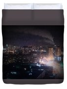 Oil Style City At Night Image Duvet Cover