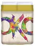 Okc Typography Watercolor Duvet Cover
