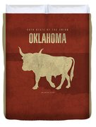 Oklahoma State Facts Minimalist Movie Poster Art Duvet Cover