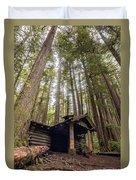Old Abandoned Cabin In The Woods Duvet Cover