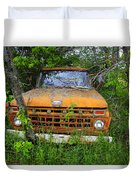 Old Abandoned Ford Truck In The Forest Duvet Cover