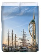 Old And New At Gunwharf Quays Duvet Cover