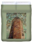 Old Baldy Light House In Teal Duvet Cover
