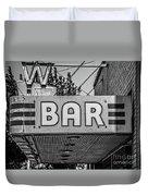 Old Bar Sign Livingston Montana Black And White Duvet Cover