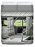 Old Barn At The Farm On Sunny Day Duvet Cover