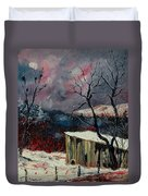 Old Barn In Winter Duvet Cover