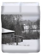Old Barn In Winter Scenery Duvet Cover