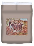 Old Barn Outhouse Falling Apart In Decay And Dilapidation Rotting Wood Overgrown Mountain Valley Sce Duvet Cover
