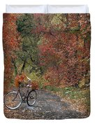 Old Bike In Autumn Duvet Cover