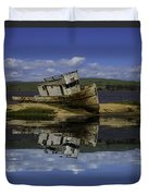 Old Boat Reflection Duvet Cover