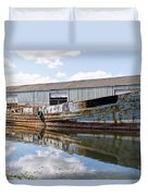 Old Boats Along The Exeter Canal Duvet Cover