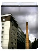 Old Brick Chimney Amongst Modern Office Buildings Near The Railway Station Perugia Umbria Italy Duvet Cover