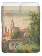Old Bridge In Bruges  Duvet Cover by Camille Pissarro