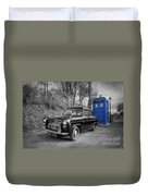Old British Police Car And Tardis Duvet Cover